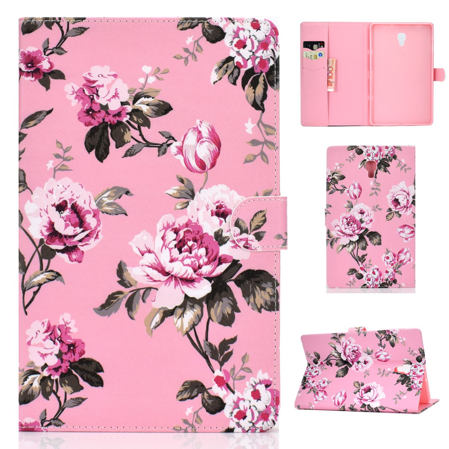 For Samsung T590 Laptop Protective Case Color Painted Smart Stay PU Cover with Front Snap Pink flower