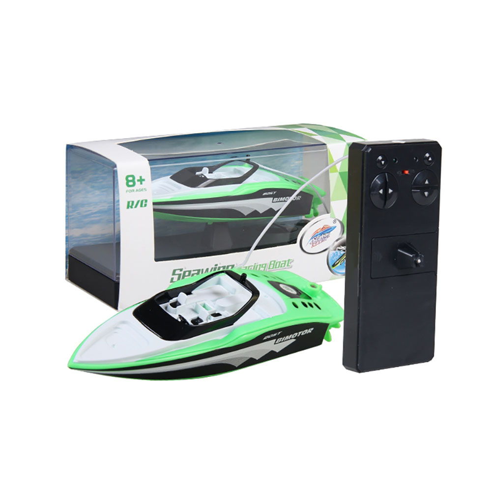 RC Boat Create Toys 3392M Portable Micro RC Racing Boat Remote Control Speedboat Boy Gift Kid Toy green