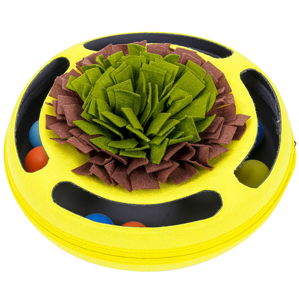 Pet Turntable Ball Track Interactive Toy Slow Feeding Training Snuffling Toy for Cats yellow_30*30*12CM