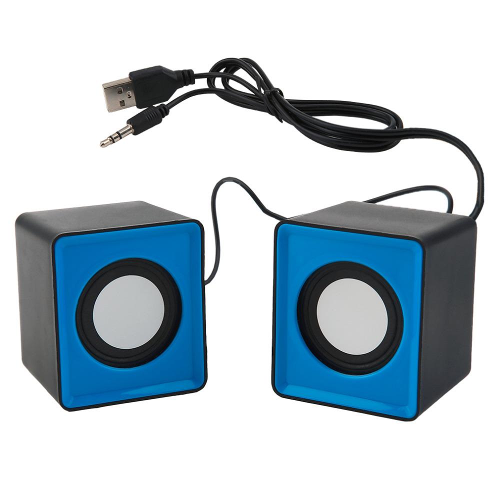 Pair Mini Stereo USB 2.0 Music Speaker Portable for Computer Desktop Blue Black Square-shaped blue