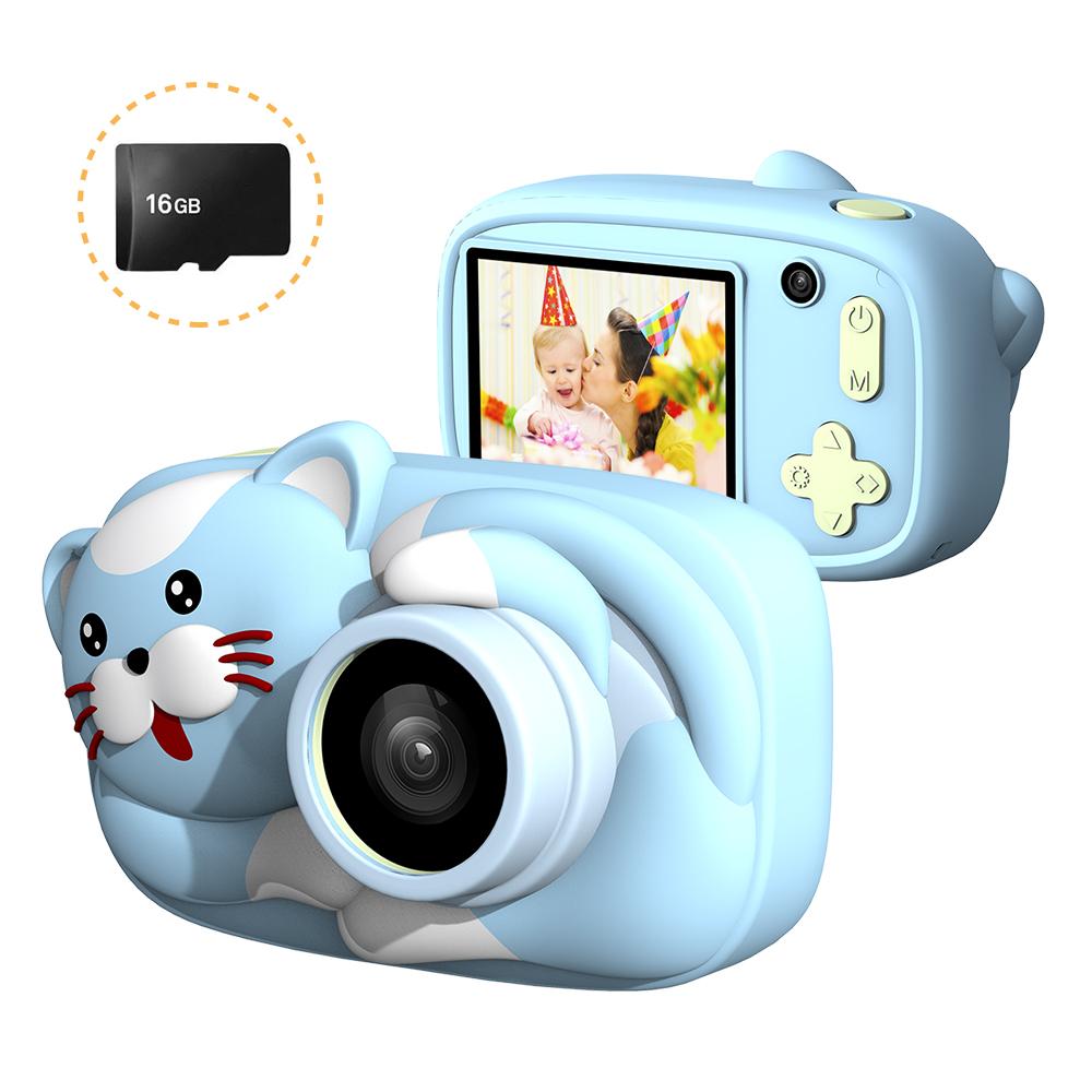 Mini Cartoon Kids Digital Camera 26MP 1080P Video Camera Camcorder 2.4 Inch IPS Screen Dual Camera Lens Shockproof for Children Sky blue cat
