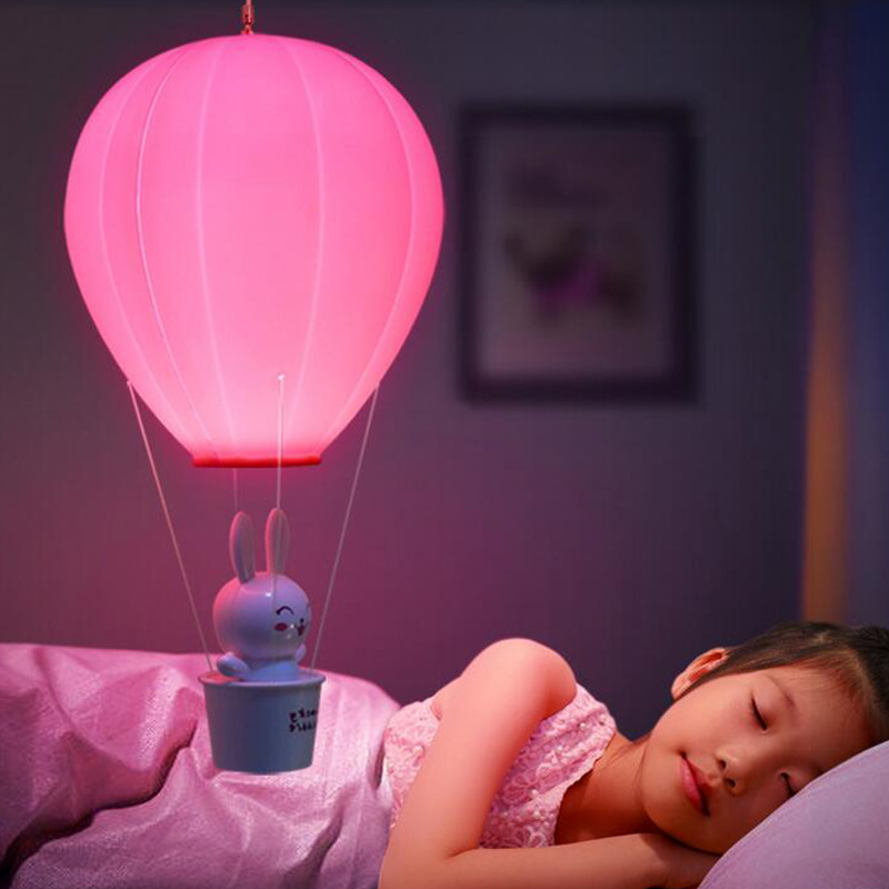 Dimmable Hot Air Balloon LED Night Light, Children Baby Nursery Lamp With Touch Switch, USB Rechargeable Wall Lamp For Kids Bedroom Baby pink