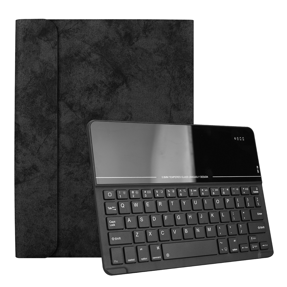 for Apple iPad Pro 11 Inch Magnetic Wireless Bluetooth Smart Sleep Keyboard Protective Case Black leather case + black glass keyboard
