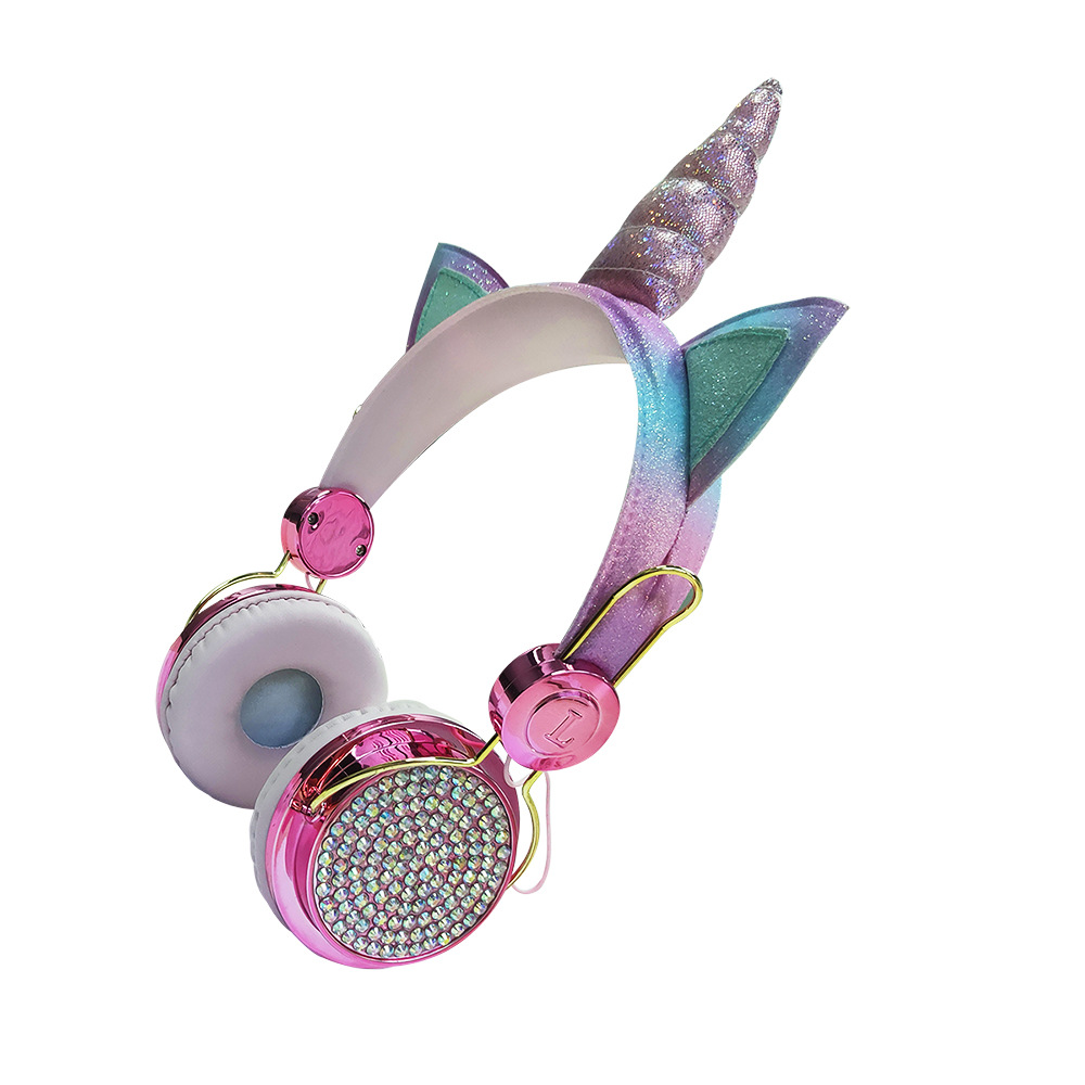 Children's Headphones Cartoon Animal Wired 3.5mm Plug Headset With Microphone colorful