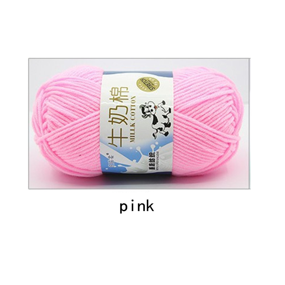 Hand Knitting Cotton Knitting Wool Doll Thread for Knitting Scarves Gloves Clothes Pink