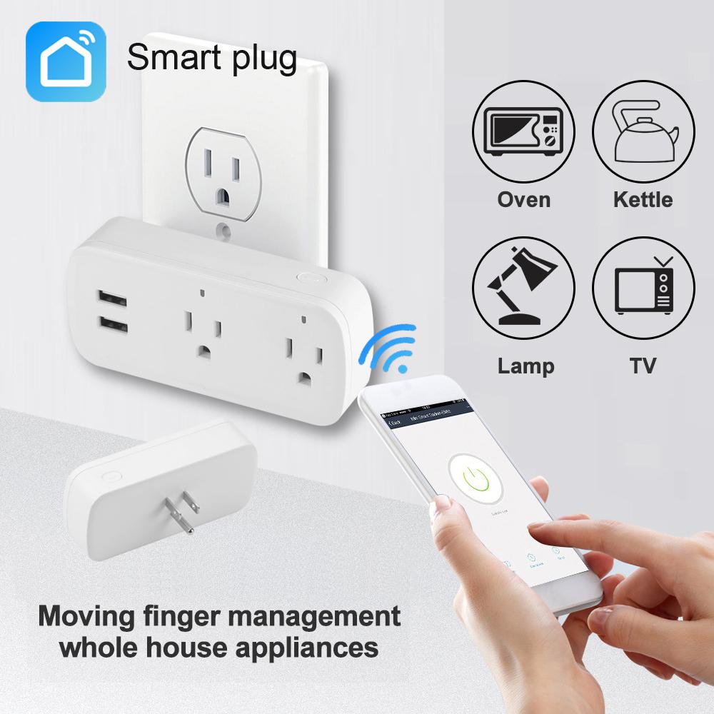 SIMU Alexa Google Home WiFi Smart DC Power Phone Socket US Standard Switche Conversion Plug white_US Plug