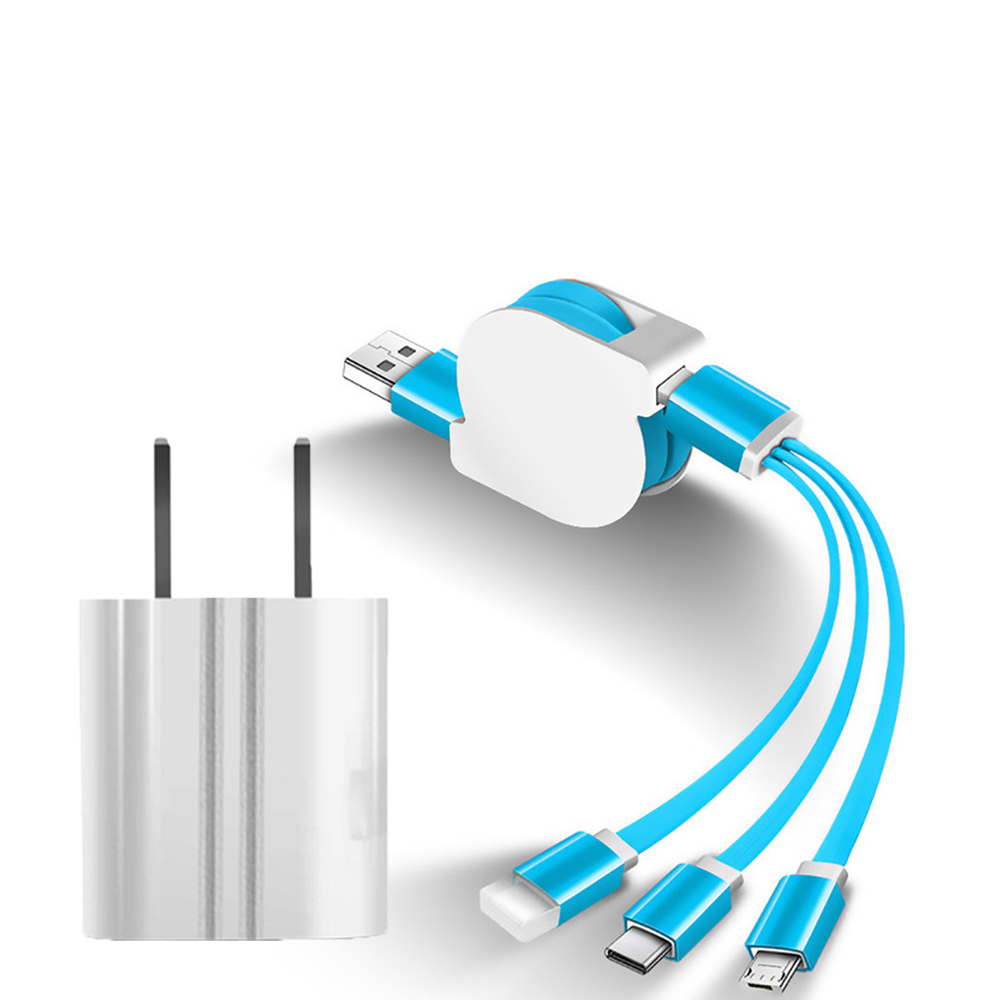 SIMU Universal Multifunctional Telescopic One-for-Three Mobile Phone Charging Data Cable Set blue