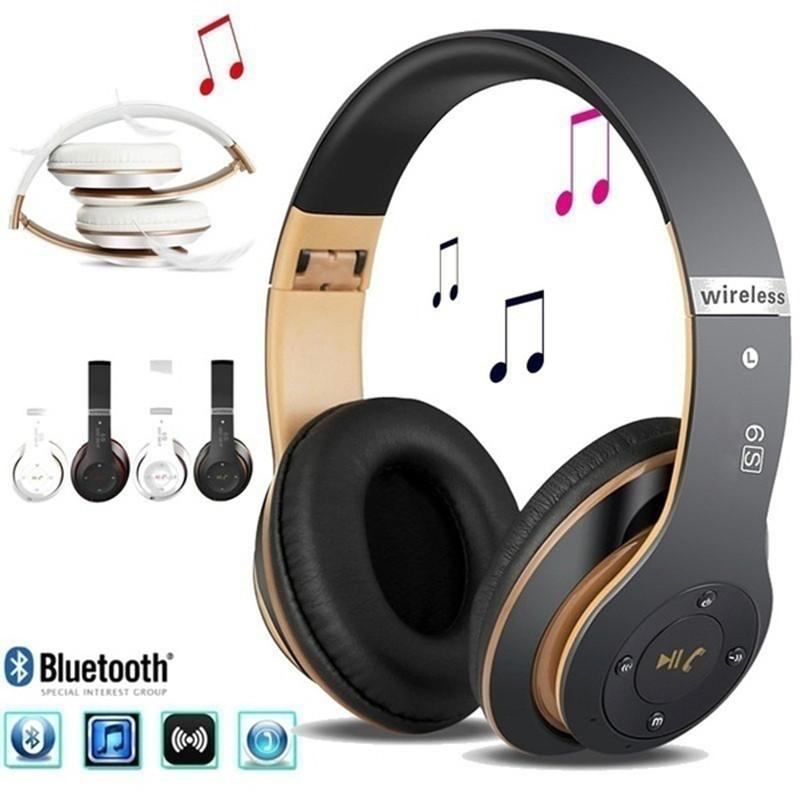 Wireless  Bluetooth  Headset Bluetooth 4.1 Earphone Long Lasting 6s Headset Usb Charging Black gold
