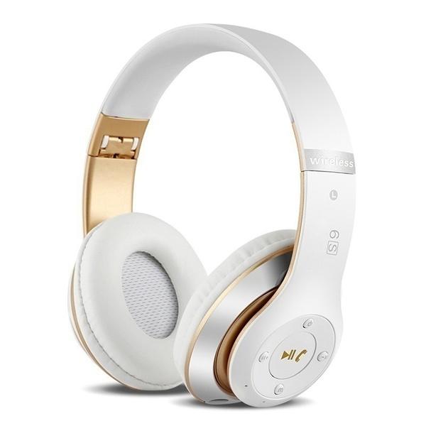 Wireless  Bluetooth  Headset Bluetooth 4.1 Earphone Long Lasting 6s Headset Usb Charging White gold