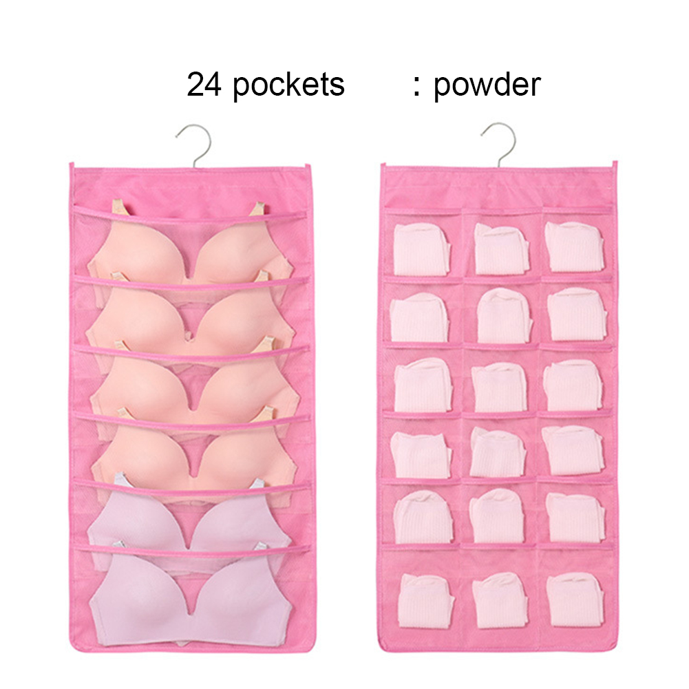 Practical Underwear Socks Storage Bag Dormitory Wardrobe Fabric Wall Hanging Bag Pink front 6-reverse 18_1pc