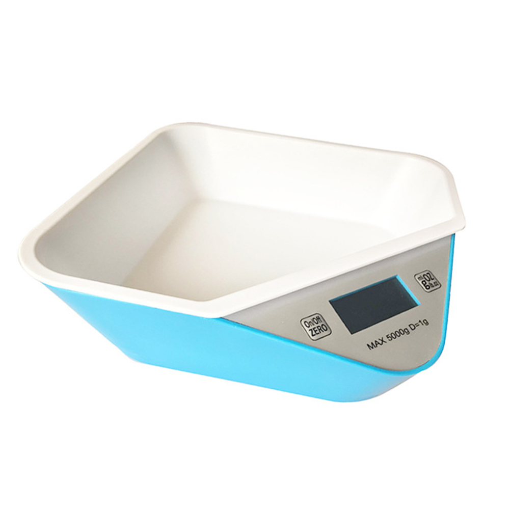 Smart Weighing Pet Bowl for Dog Cat Food Feeding Tableware Supplies Blue (with tray)