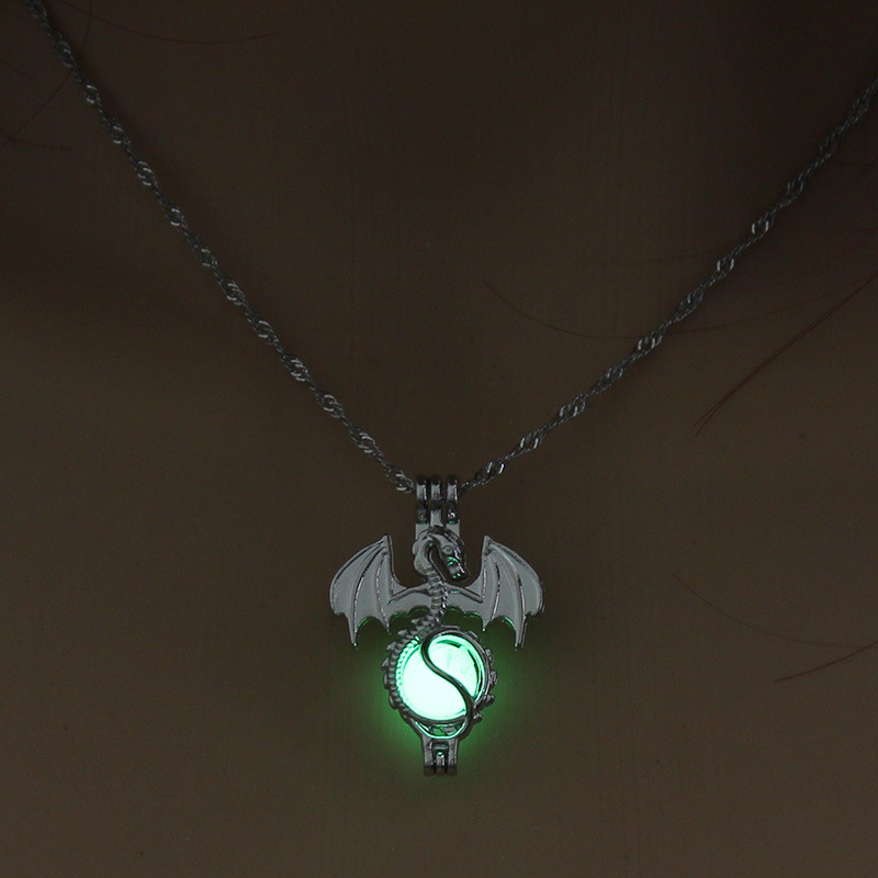 Luminous Alloy Open Cage Mermaid Skull Head Necklace DIY Pendant Halloween Glowing Jewelry Gift NY246-Dragon