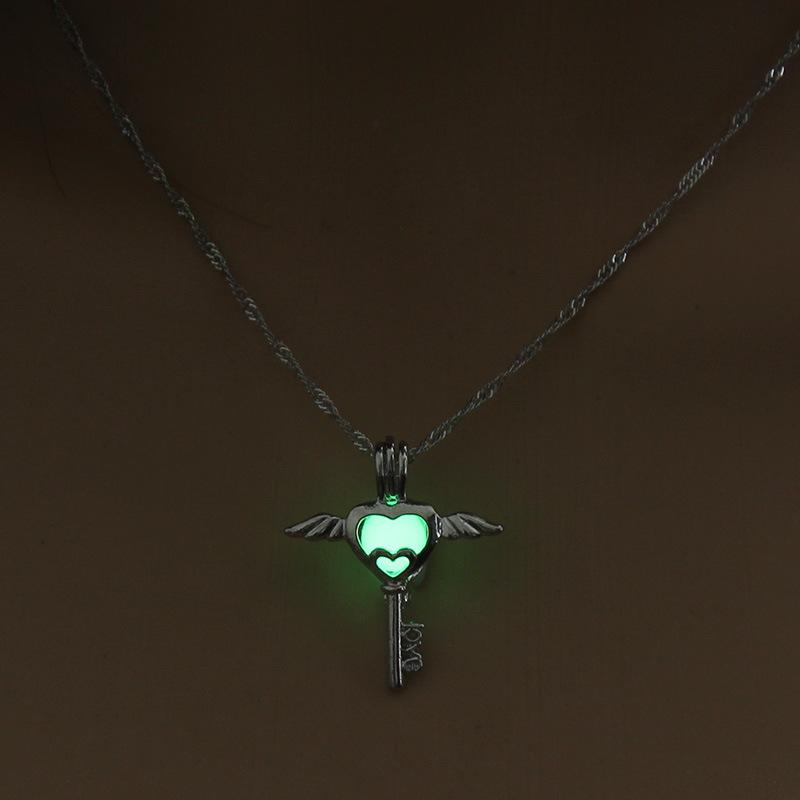 Luminous Alloy Open Cage Mermaid Skull Head Necklace DIY Pendant Halloween Glowing Jewelry Gift NY237-Key