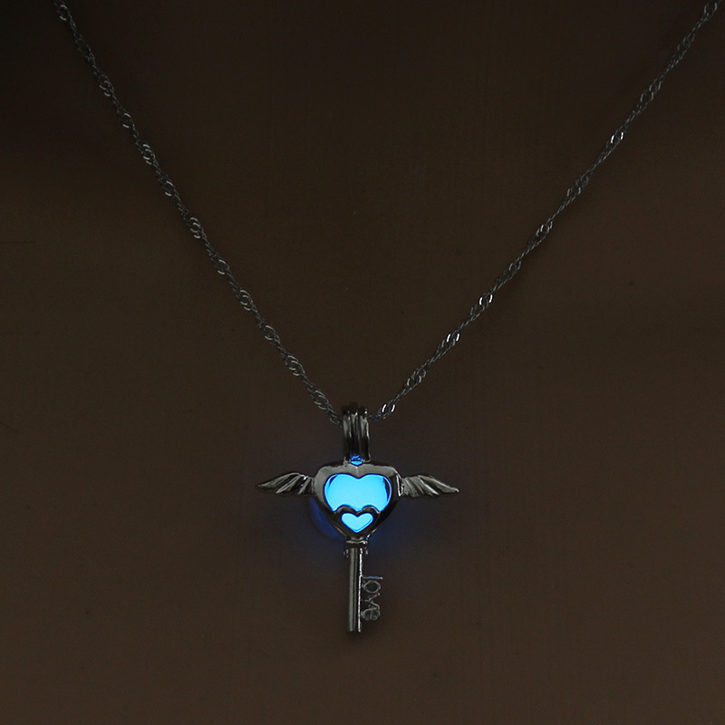 Luminous Alloy Open Cage Mermaid Skull Head Necklace DIY Pendant Halloween Glowing Jewelry Gift NY236-Key