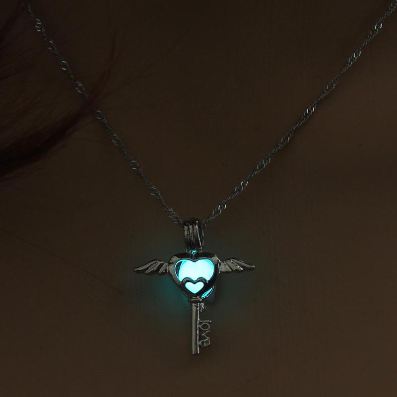 Luminous Alloy Open Cage Mermaid Skull Head Necklace DIY Pendant Halloween Glowing Jewelry Gift NY235-Key