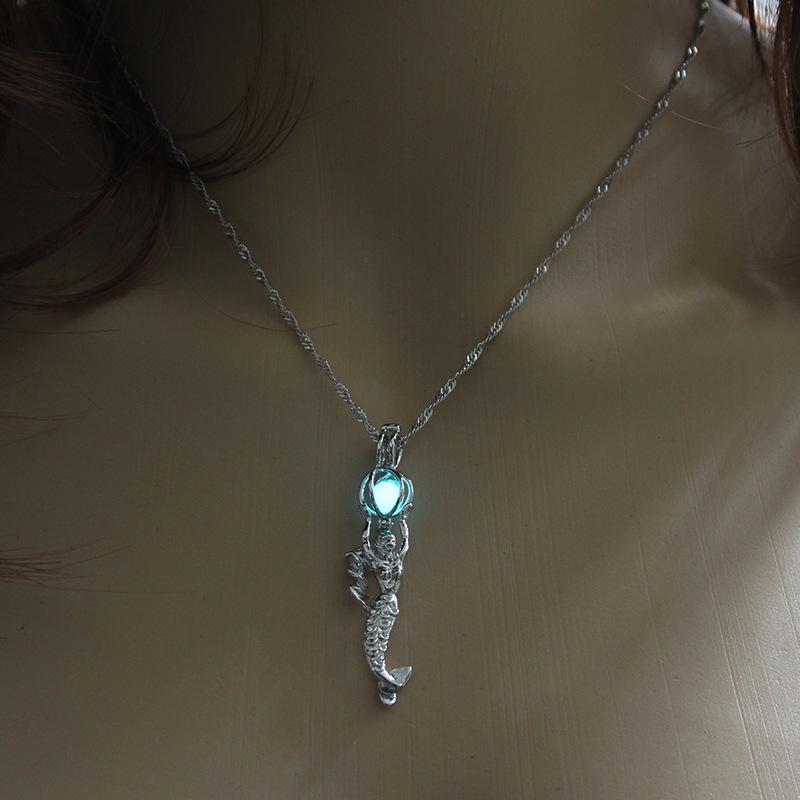 Luminous Alloy Open Cage Mermaid Skull Head Necklace DIY Pendant Halloween Glowing Jewelry Gift NY046-Beauty