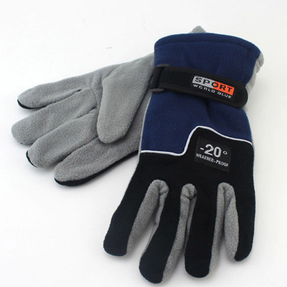 Fleece Motorcycle Gloves Road Mountain Bike Gloves Ultralight Outdoor Skiing Bicycle Heated Warm Gloves Men blue_One size