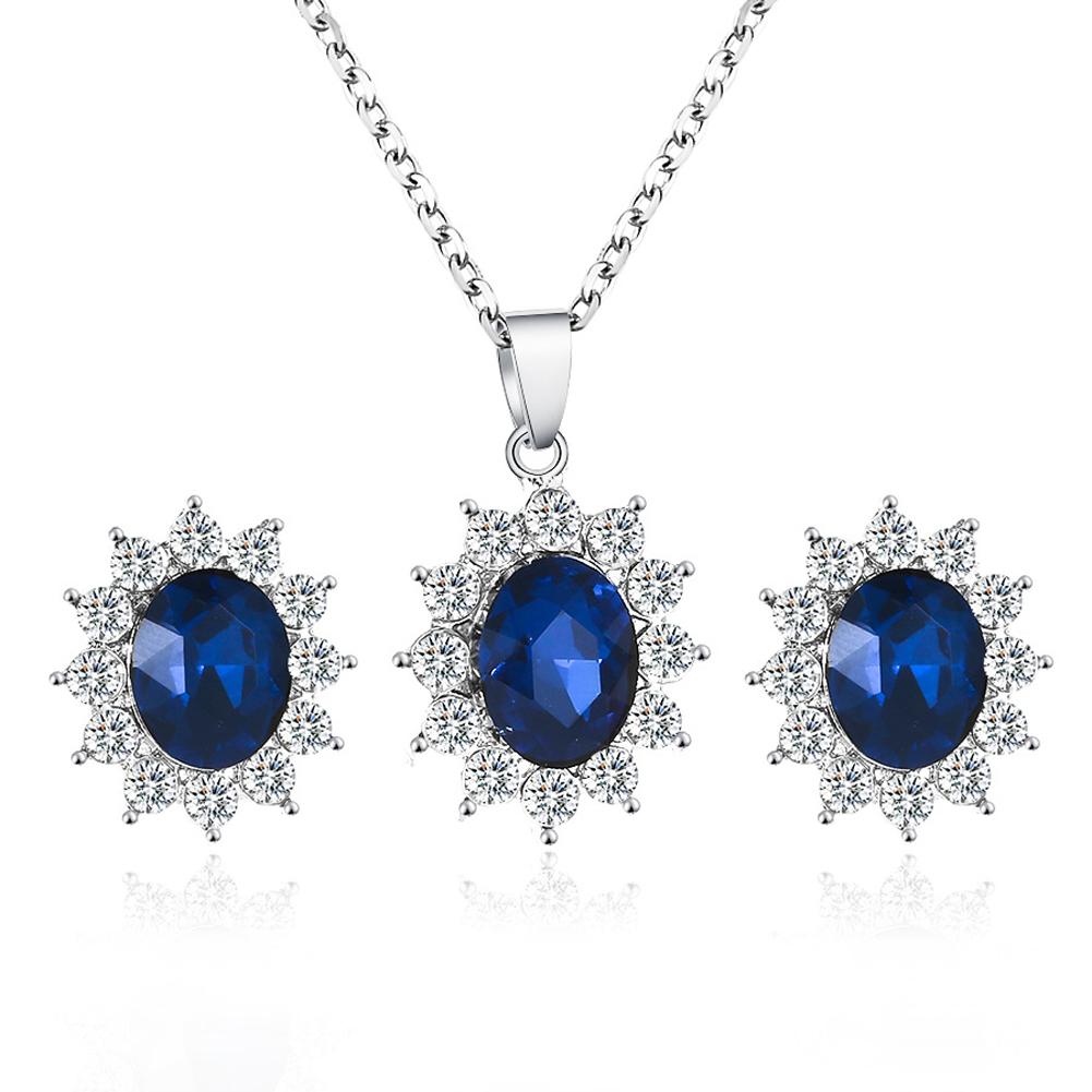 2pcs/set Women's Sunflower-shape Zircon Earrings+ Sapphire Pendant Necklace Silver