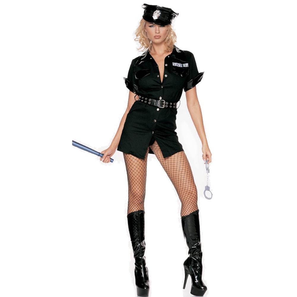 Policewoman Dress Hat Uniform Christmas Show Cosplay Costume black_L