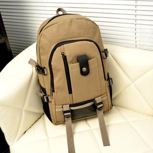 Men's Multi Pockets Outdoor Hiking Canvas Backpack Casual Travelling Bag High-capacity Satchel Schoolbag Dark khaki