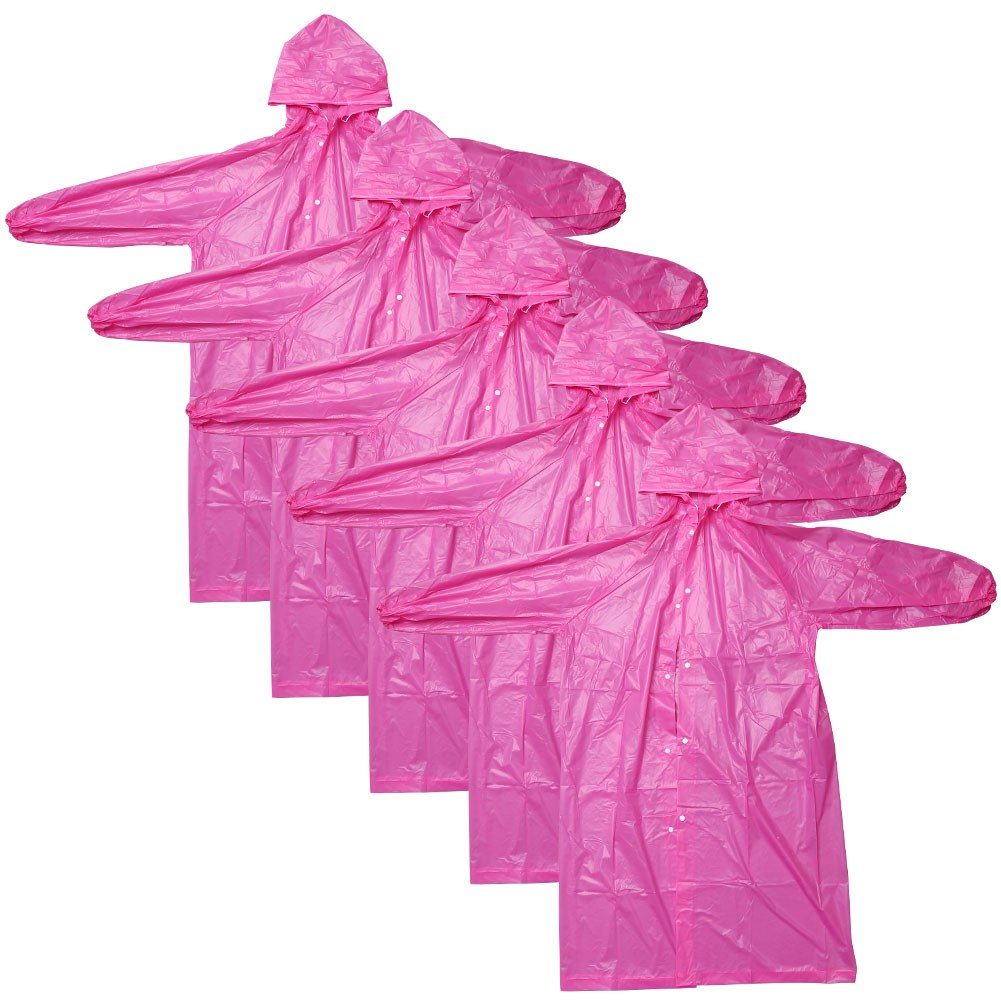 [EU Direct] 5pcs Disposable Raincoats with Sleeves and Hood, One Size Fits All, Lightweight outdoor Pink