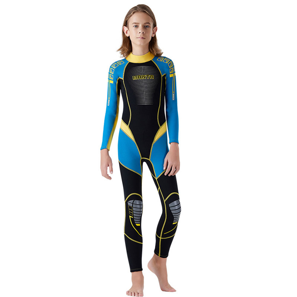 Children Diving Suit 2.5MM Thicken Warm Junior Siamese Long Sleeve Surfing Diving Suit blue_M