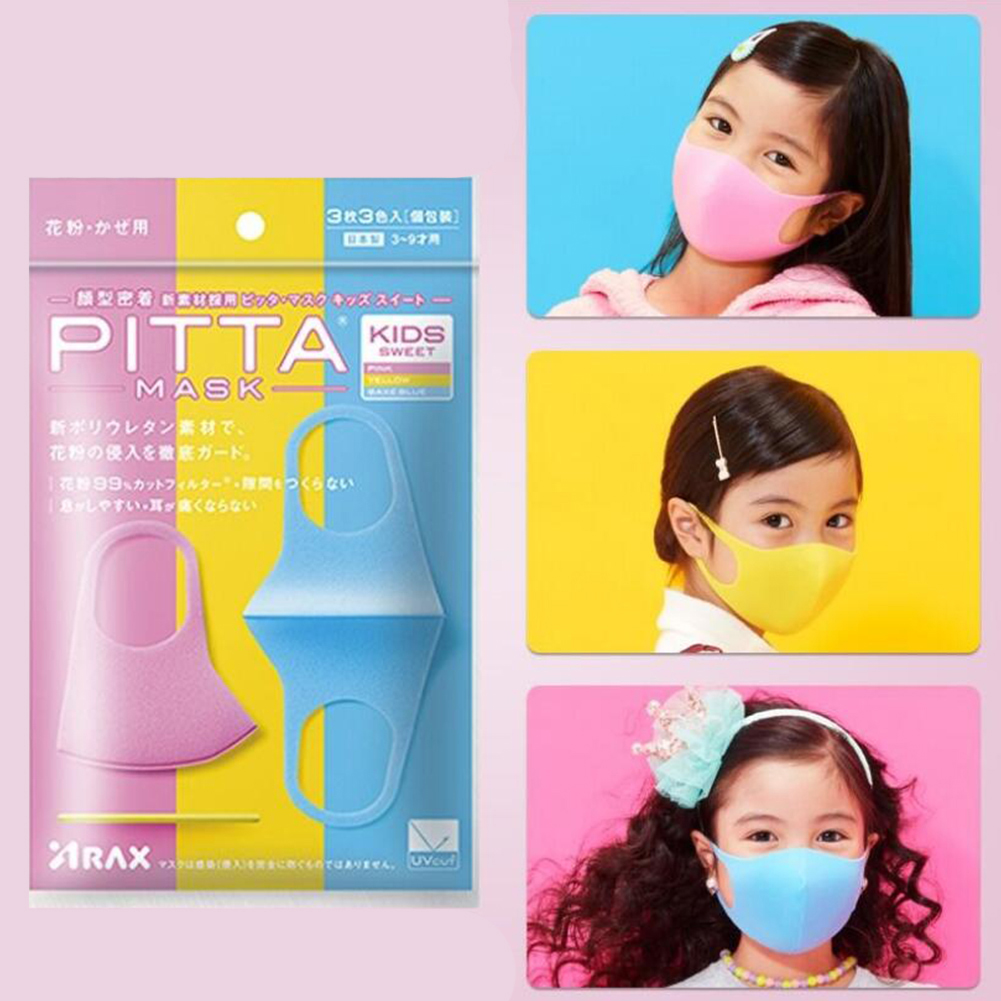 3pcs PITTA 3D Dust-proof Anti-fog PM2.5 Sponge Mask Protective Face Guard for Adult Kids Girls-colorful