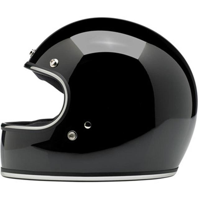 Motorcycle Full Covered Helmet Retro Helmet Winter ABS Outdoor Riding Helmet Bright black XL