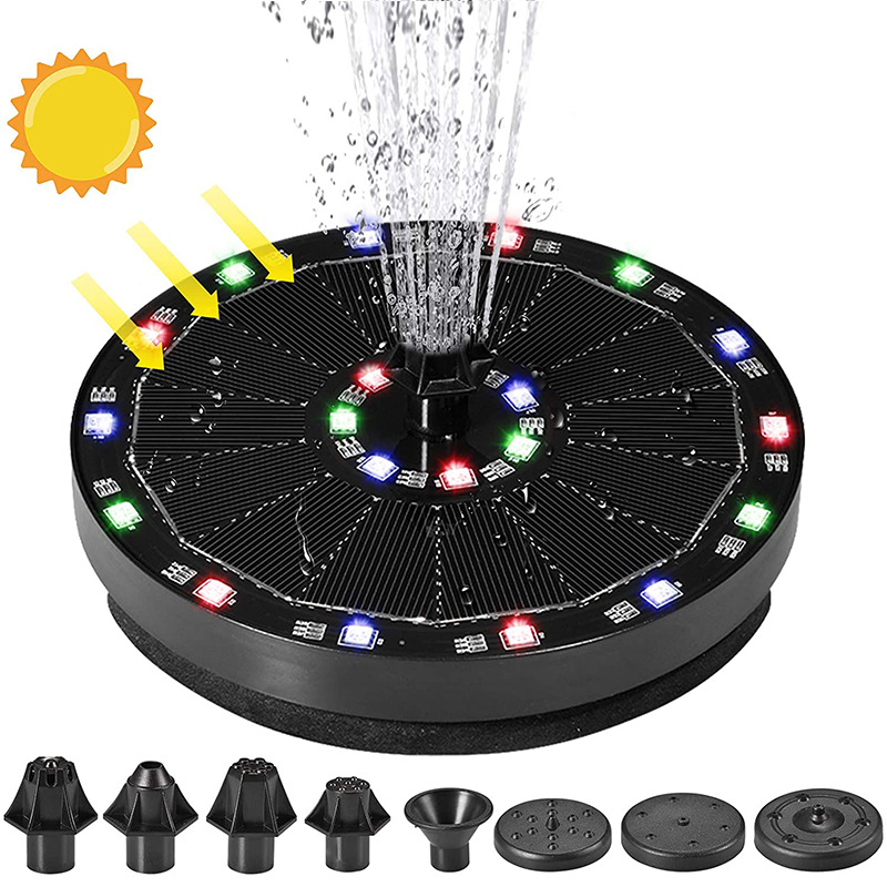 Solar Energy Fountain Monocrystalline Silicon Outdoor Pool Water Floating  Fountain 7v 3w Battery With Colored Lights 659 double row colorful lights