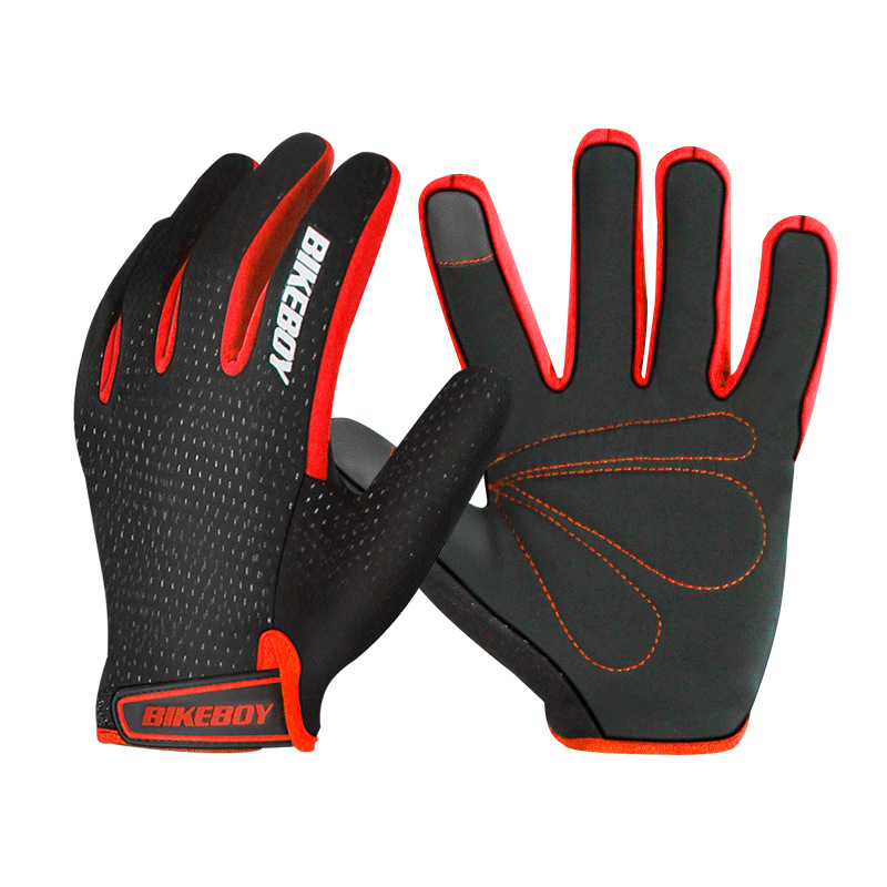 Riding Gloves Full Fingers Warm Windproof Touch Screen Mountain Motorcycle Gloves Men And Women Motocross Riding Equipment Black red_M
