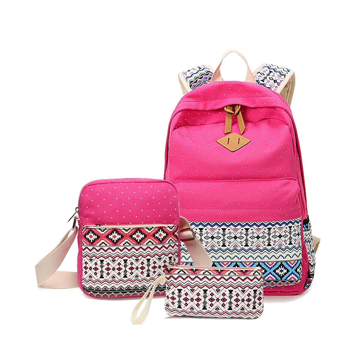 Casual Lightweight Canvas Wallet/Shoulder Bag/School Backpack Travel Bags Set