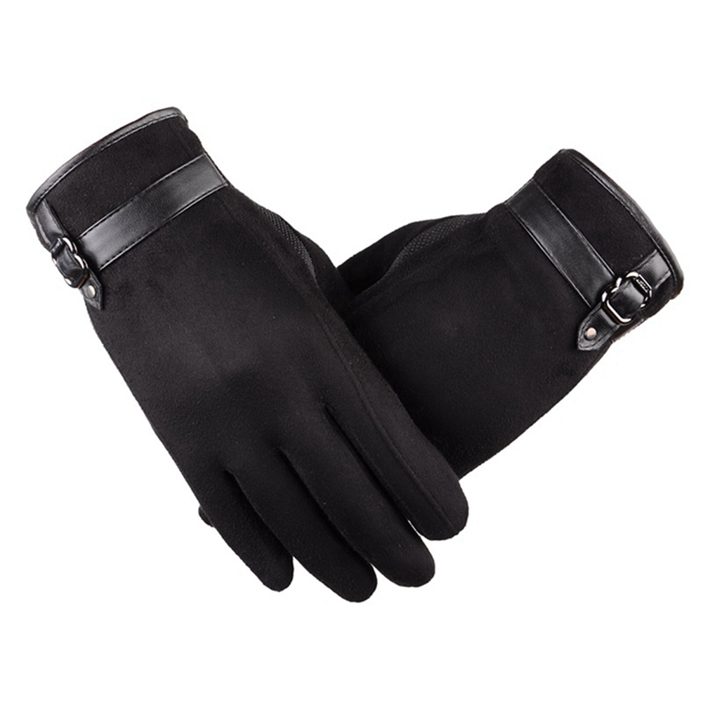 Mens New Screentouch Suede Cold Weather Gloves Driving Gloves with Buckle Decor