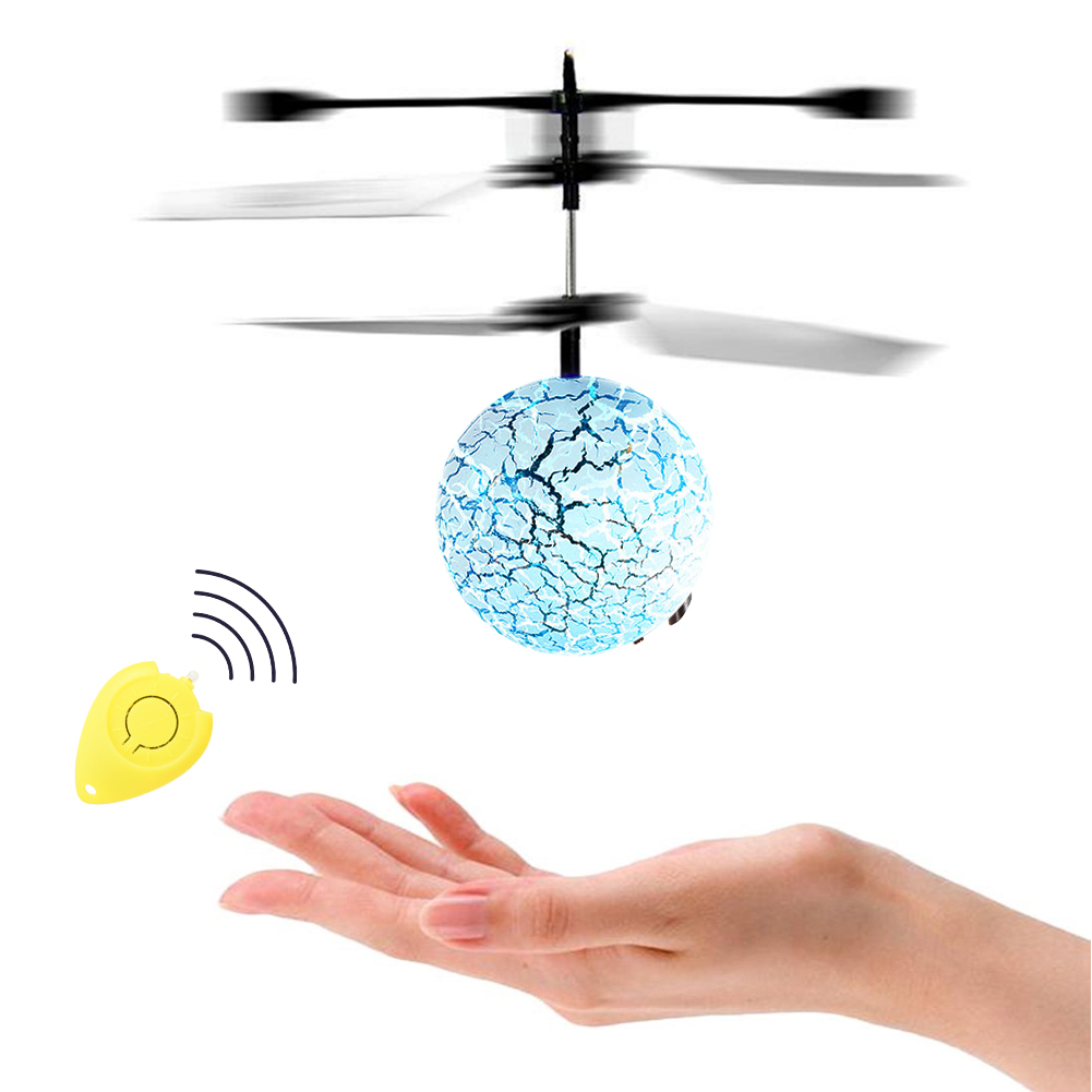 [US Direct] RC Flying Ball Infrared Hand Induction Flight Helicopter Multicolor LED Lights for Kids Teenager with Remote Controller