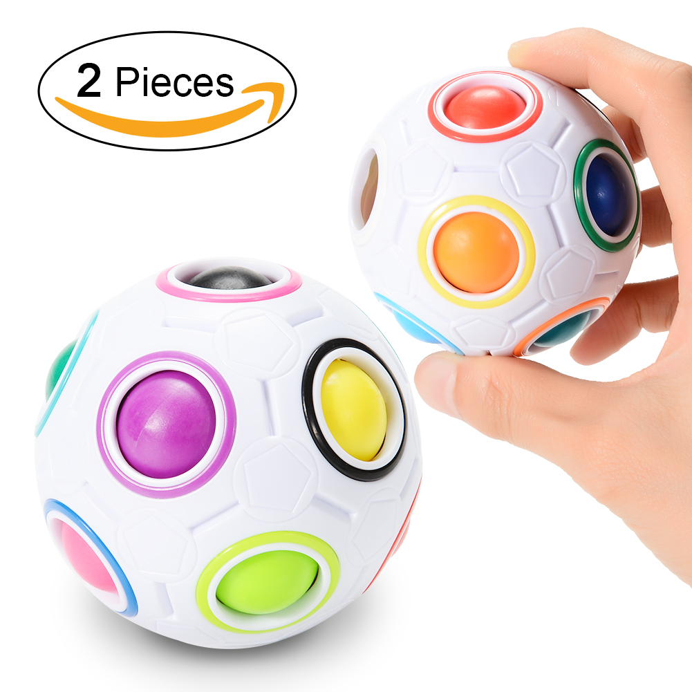 [US Direct] 2 Pcs Magic Rainbow Ball Challenging Puzzle Cube Fidget Toy for Children/Adults