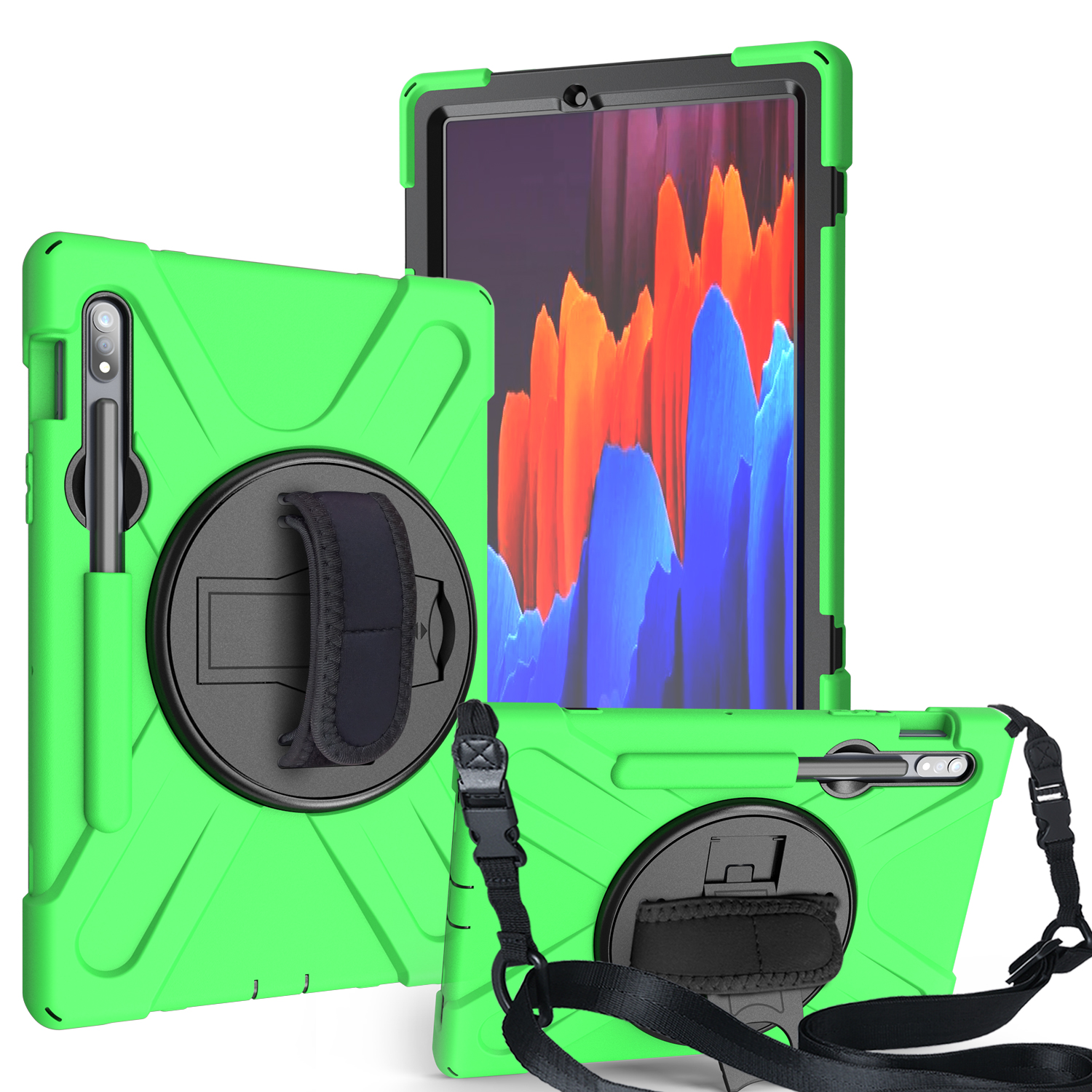 For Samsung Tab S7 T870 /Tab S7 Plus T970/T975 Protective Cover with Pen Slot Anti-fall Belt Holder + Wristband + Straps green_Samsung Tab S7 T870 (2020)