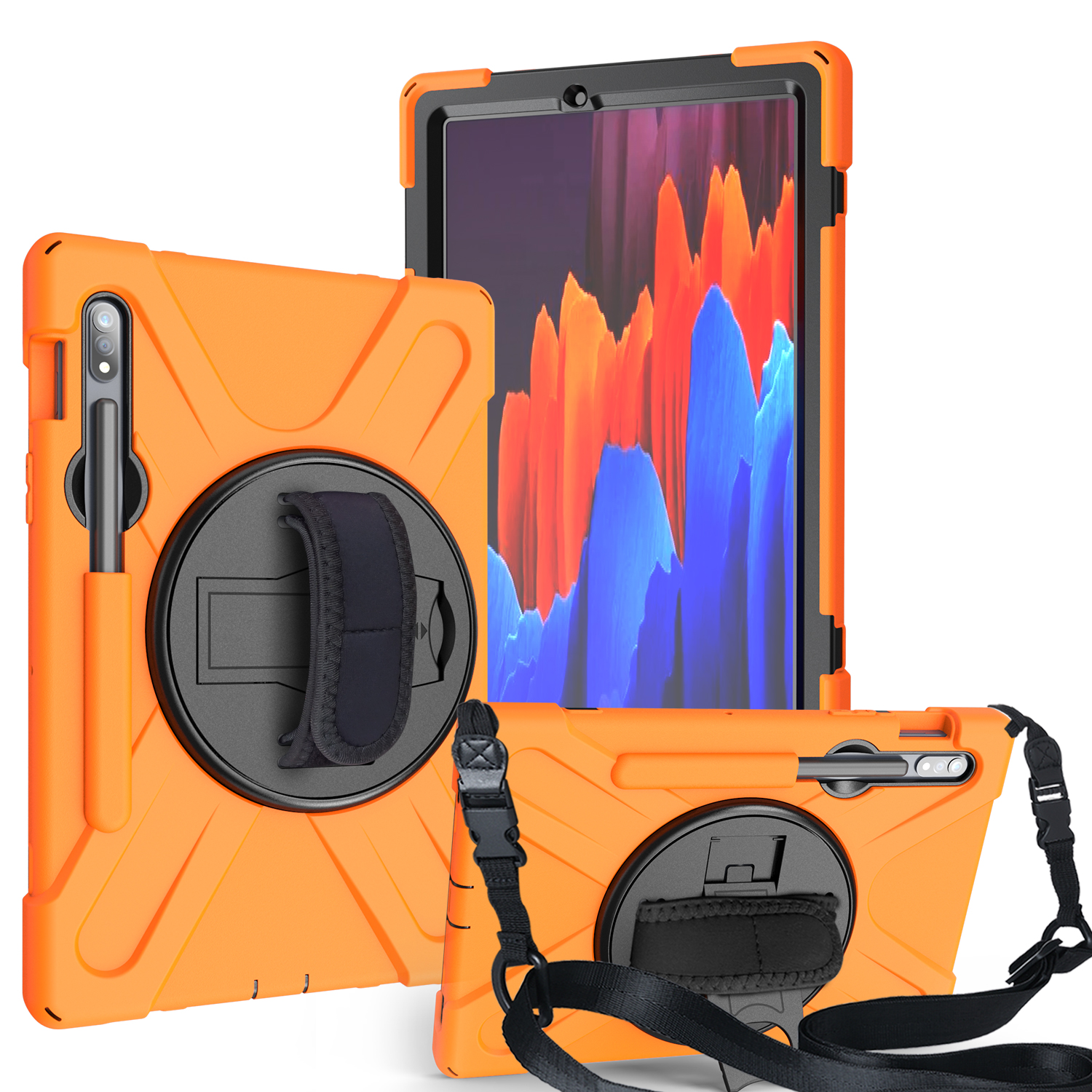 For Samsung Tab S7 T870 /Tab S7 Plus T970/T975 Protective Cover with Pen Slot Anti-fall Belt Holder + Wristband + Straps Orange_Samsung Tab S7 T870 (2020)
