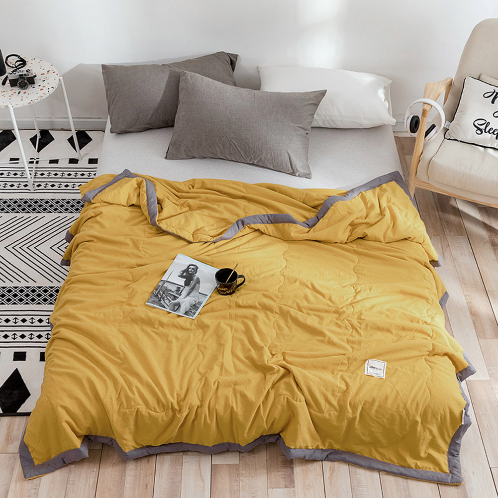Air Condition Quilt Breathable Simple Summer Quilt for Home Beds Sleeping yellow_150*200cm