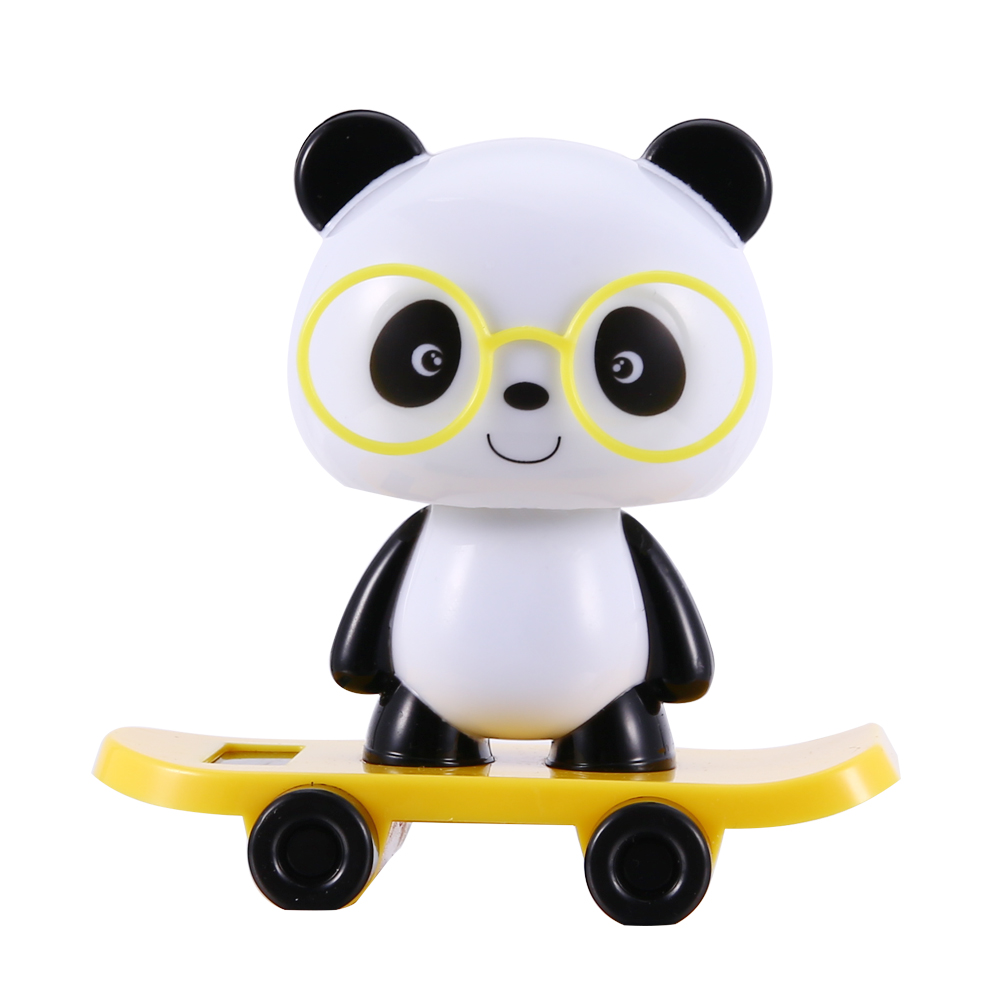 Solar Powered Dancing Cute Animal Monkey Pig Panda Dog Boy Girl Toys for Dashboard Desk Home Office Yellow