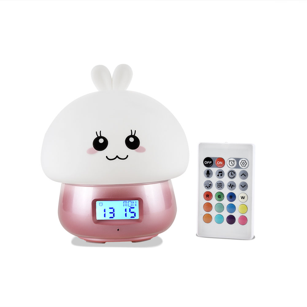 USB Charging Cute Patting Night Light with Remote Control Alarm Clock Recording Function Decoration Gift Pink