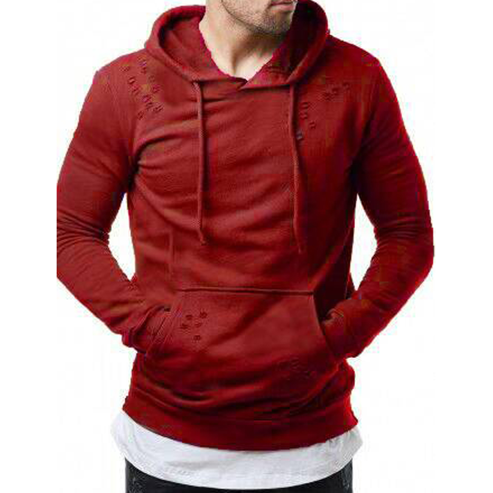 Pure Color Leisure Hole Fashion Men Side zipper Sweatershirt red_L