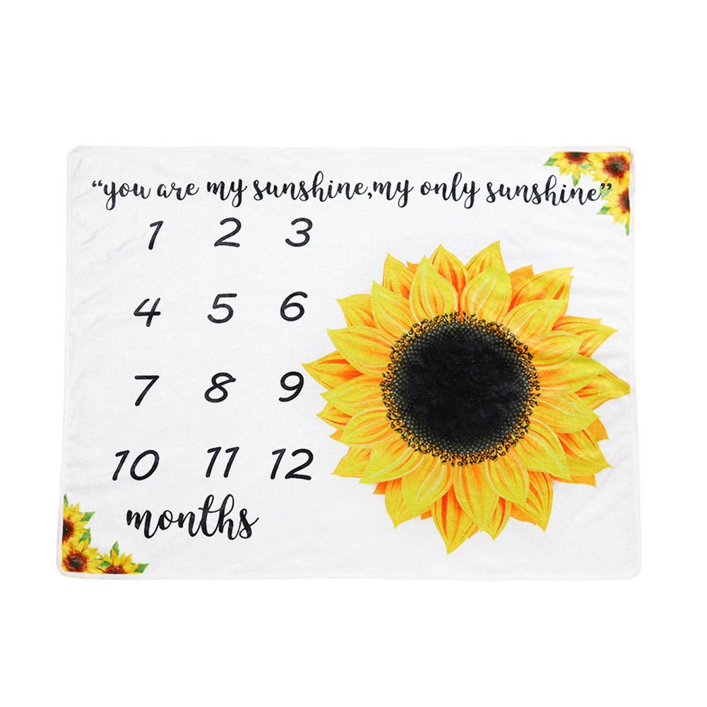 Baby Blanket Flannel Photography Background Cloth Newborn Anniversary Blanket Flannel H: Sunflower