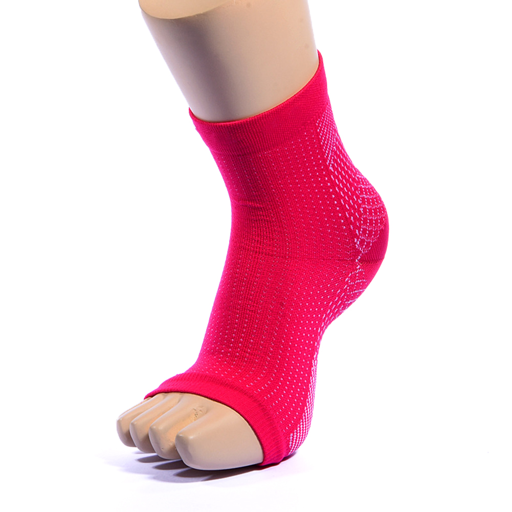 1Pair Medical Plantar Fasciitis Socks with Arch Joint Support Sports Compression Foot Sleeves for Women & Man red