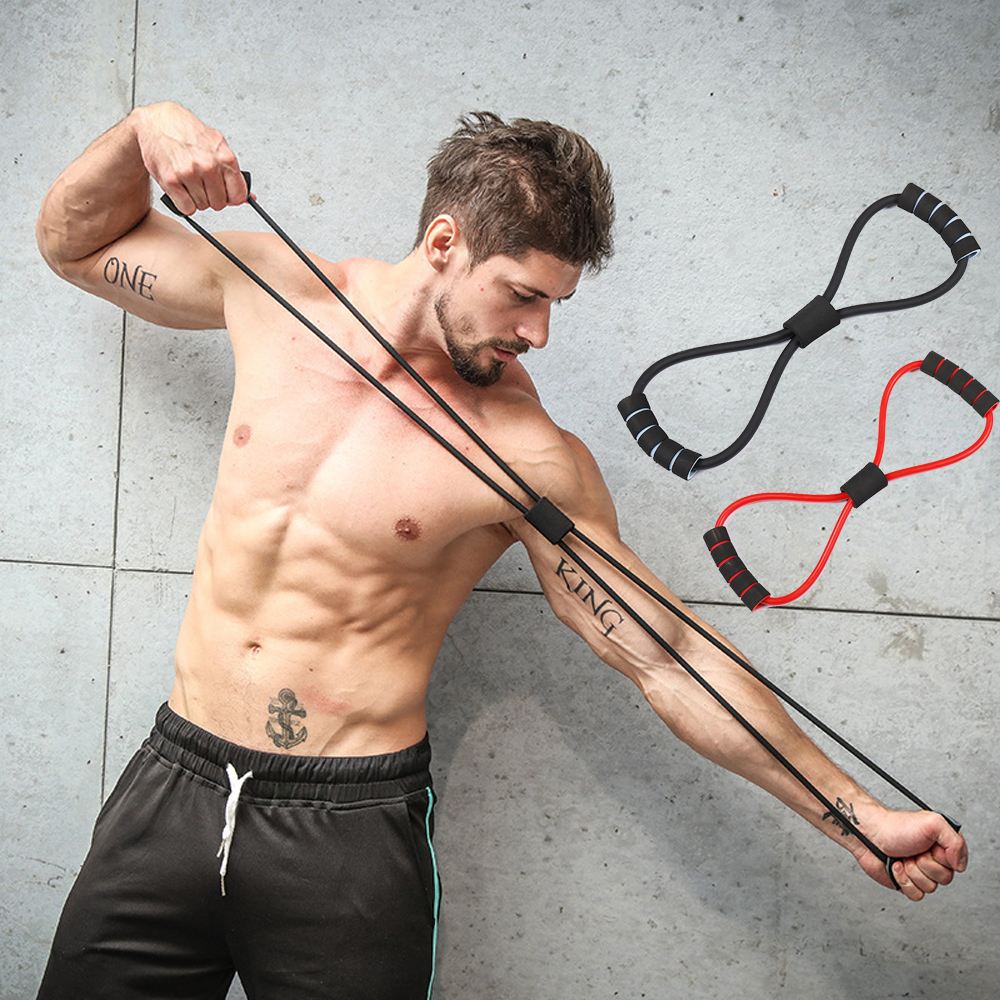 Multi-function 8 Word Resistance Band Indoor Sports Chest Fitness Yoga Pull Rope Tube black