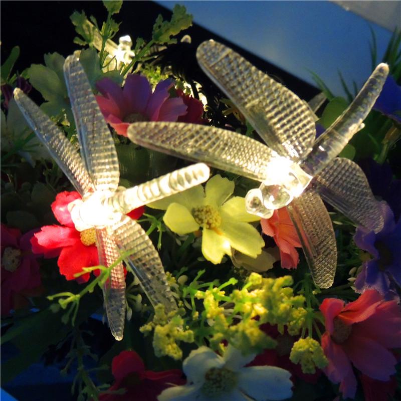 6M 30LEDs Waterproof Dragonfly Shape Solar Powered String Light White light_(ME0004601)