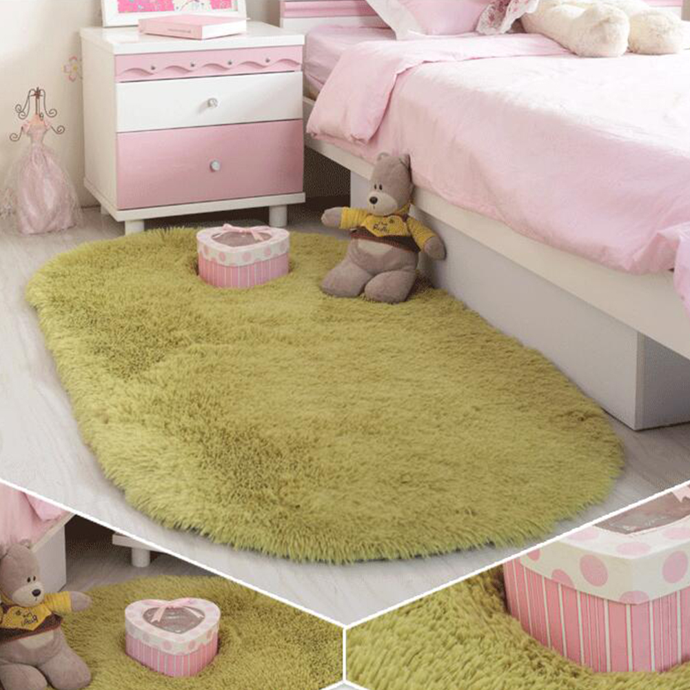 Anti-Slip Oval Shape Plush Carpet Mat for Living Room Tea Table Bedroom Grass green_60*160cm hair height 2.5cm