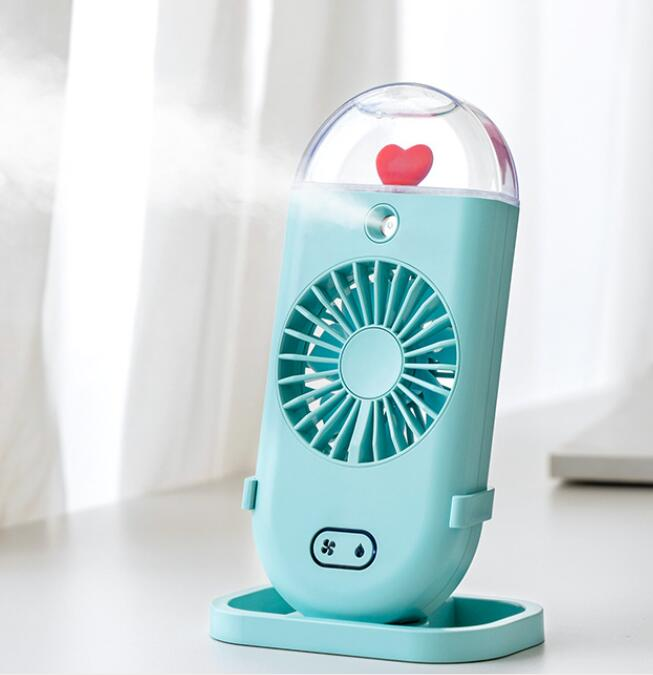 Handheld Water Spray Mist Fan USB Charging Air Cooling Mini Humidifier Fan for Student Outdoor green_Handheld spray fan
