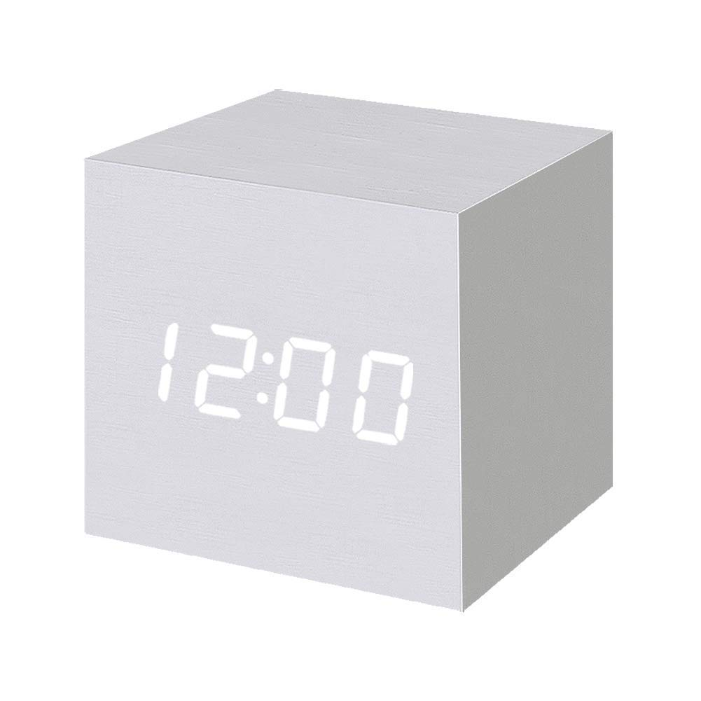 Wooden Digital Alarm Clock LED Light Multifunctional Modern Cube Displays Date Temperature for Home Office White wood white word