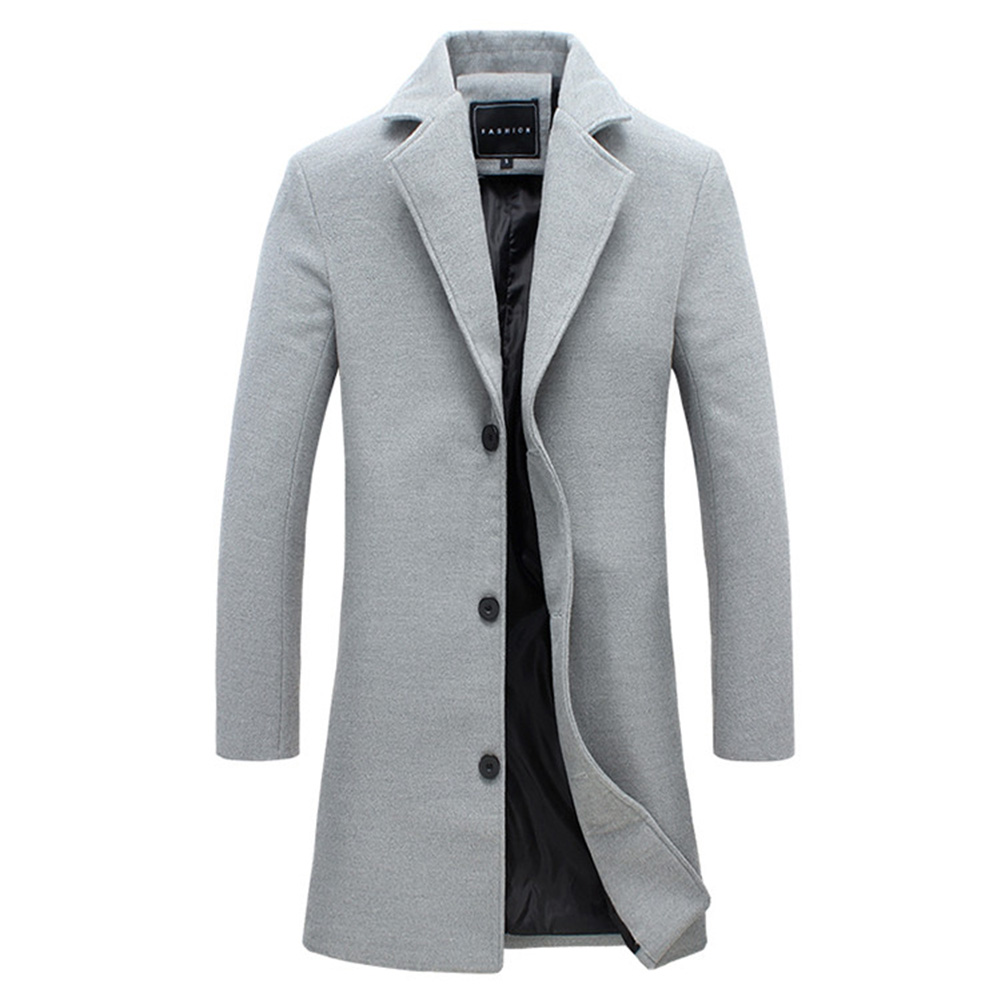 Fashion Winter Men's Solid Color Trench Coat Warm Long Jacket Single Breasted Overcoat gray_XL