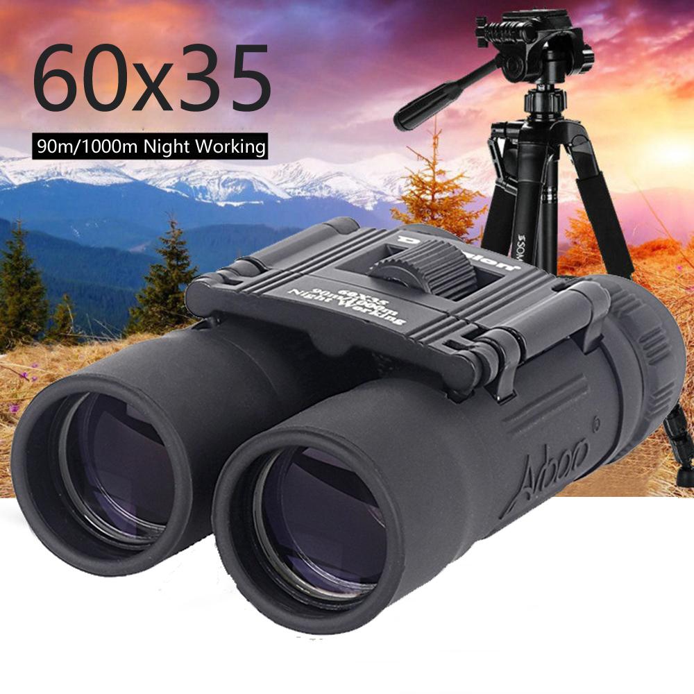60X35 Foldable Mini Telescope Long Distance Binoculars Central Focus Hiking Camping Hunting 1000m  black