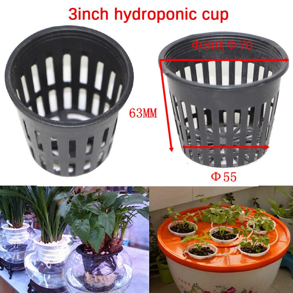 10Pcs Water Culture Planting Net Cup Ventilating Basin 3inch  black_80X63